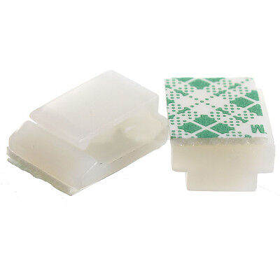 100XPlastic Wire Tie Rectangle Cable Mount Clip Clamp Self-adhesive White S K2X4