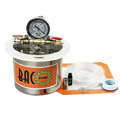 "BACOENG Mini 2 Quart 4.4""(H) x 5.4""(OD) Stainless Steel Vacuum Degassing Chamber"