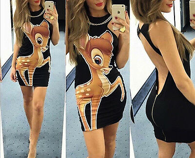 Womens Sexy Casual Backless Bambi Slim Tunic Mini Dress Party Club Bodycon 224