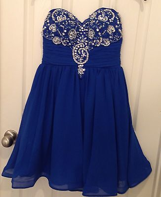 Sequin Hearts Strapless Beaded Bust Party/Prom/Formal/Dance Dress Blue Silver 7