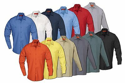 REED Industrial Uniform Work Shirts Two Front Pockets Long Sleeve