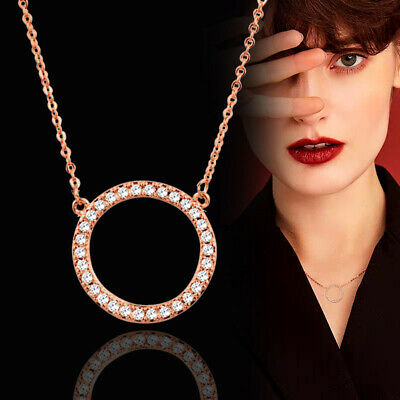Trendy Micro Paved Crystal Round Circle Choker Pendant Necklace Women 3 Colors