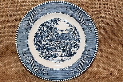 "Currier and Ives 6 3/8"" Bread and Butter Plate Blue Old Grist Mill byRoyal China"