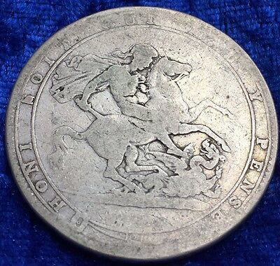 Antique Solid 925 Silver King George III 1819 LIX Crown