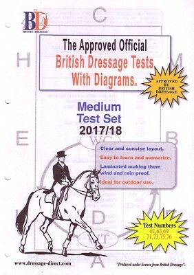 2017 MEDIUM TEST SET: Laminated British Dressage Tests with Diagrams