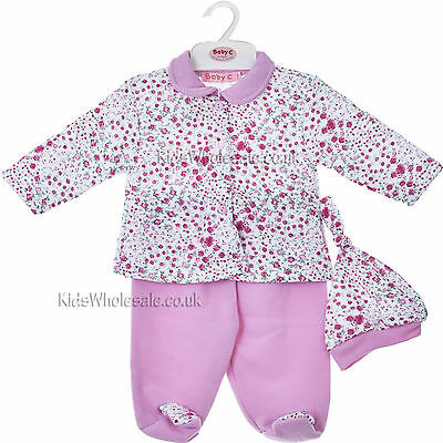Beautiful Baby Girls Floral Print 3 Piece Outfit Set Newborn Up To 6 Months