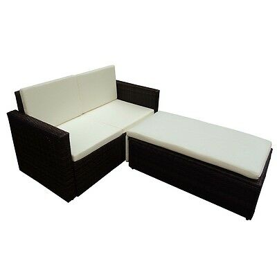 New Poly Rattan Lounge Set Sofa Bed Garden Furniture Quality Brown with Cushions