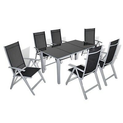 NEW Garden Furniture Set Black and Grey 1 Table 6 Seats Outdoor Chair Patio