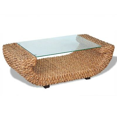 New Hand Woven Coffee Table Water Hyacinth with Glass Top Wood Frame Stable