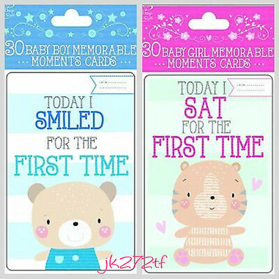 Brand New - 30 Baby Boy Girl Memorable Moments Milestone Cards New Baby Keepsake
