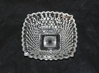 Anchor Hocking Glass Miss America Pattern Square Candy Dish Bowl Vintage