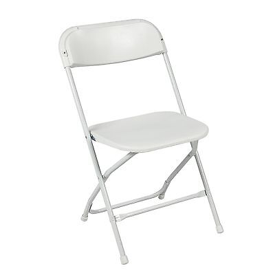 White Plastic Folding Chairs Stackable Wedding Party Event Portable Seats 5packs