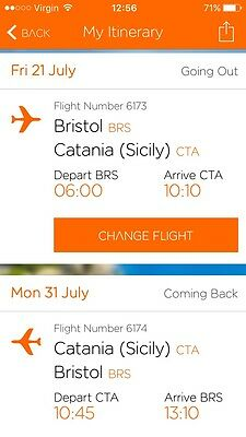 2 EasyJet flights to Sicily from Bristol departing 21st July to 31st July