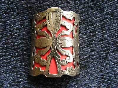 WALKING STICK BADGE ORNATE PIERCING SILVER PLATED LARGE 4 cm HIGH