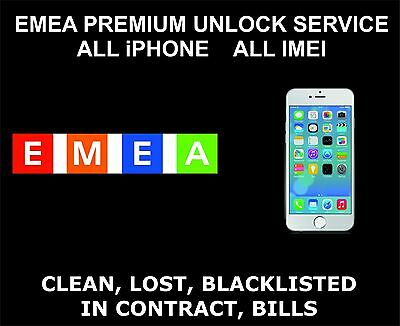 EMEA Premium Unlock Service: All iPhone and iPad Models: All IMEI Supported
