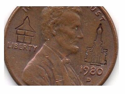 1980-D Lincoln Memorial Cent Special Symbol Counter Stamping
