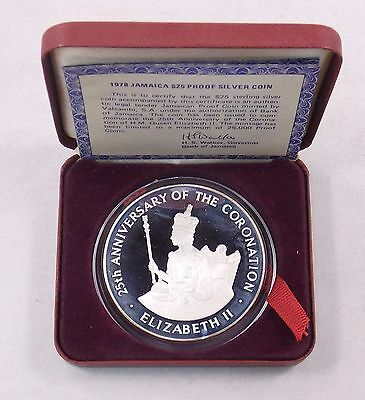 1978 Jamaica $25 Sterling Silver Proof Coin 25th Ann of the Queen's Coronation