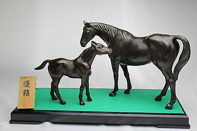 Japanese ornament statue Horses metal parent and child