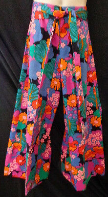 Hand made Paisley Belted Bell bottom Pants Sz S-M Polyester Multi color