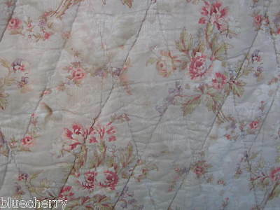 """FAB Antique FRENCH QUILT BOUTIS Hd Made Bouquet ROSES shiny chintz 86.5"""" x 82.5"""""""