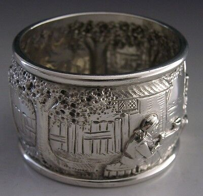 Rare Victorian Sterling Silver Figural Embossed Napkin Ring 1898 English Antique