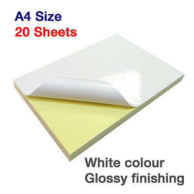 20 x A4 White GLOSSY Self Adhesive Sticky Silhouette Printable Sticker Paper