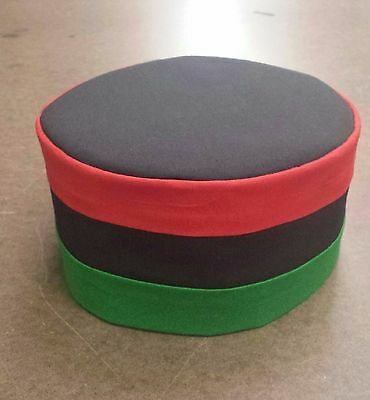 African Red Black Green Kufi Hat / 100% Cotton/ Free Shipping