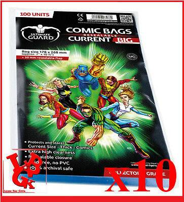 Pochettes Protection comics VO x 10 CURRENT Size BIG REFERMABLE Ultimate # NEUF#