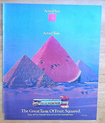 1991 Jolly Rancher Candy Watermelon Egyptian Pyramids Vintage Magazine Print Ad