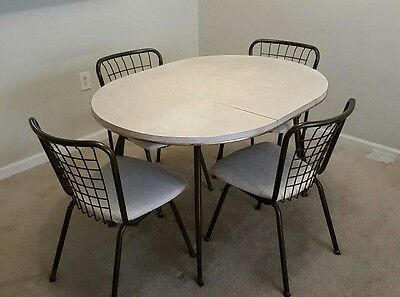 Vintage Retro Mid-Century Chrome and Formica Table With Leaf & Four Chairs