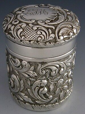 Beautiful English Sterling Silver Trinket Box / Canister 1899 Antique