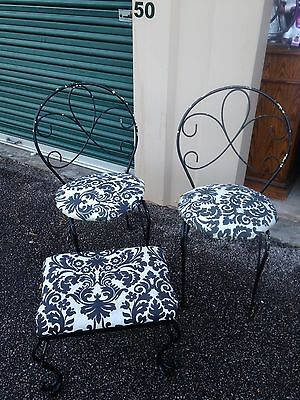 3 Pc Vintage Wrought Iron Patio Garden Set With Scrolled Metal Chairs & Stool.