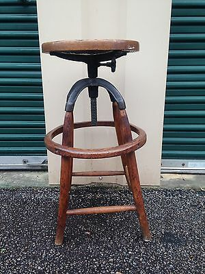 Antique Vintage Primitive Industrial Operators Stool Wood & Cast Iron Adjustable