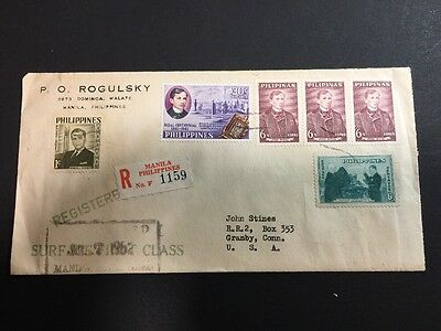 Philippines Multi-franked Registered Cover First Class Manila to Granby USA 1962