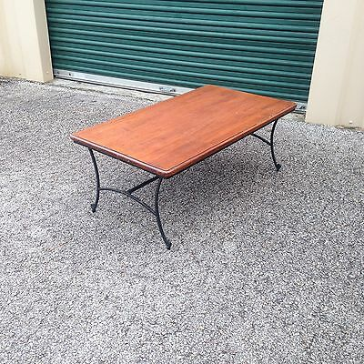 Simple Design Clean Lines Wood Top On Iron Frame Sturdy Coffee Table. Tv Table.
