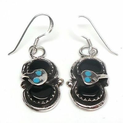 Zuni Black Onyx French Hook Snake Earrings By The Famous Artist Effie Calavaza