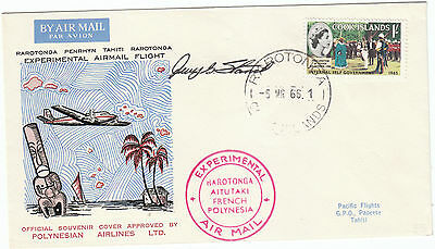 Cook Islands Rarotongai Tahiti Experimental Flight Pilot signed 1966