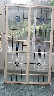 1920's Lead Stained Glass French Doors