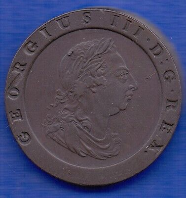 1797 GEORGE III CARTWHEEL TWOPENCE COIN (high grade)