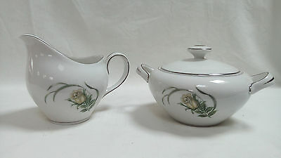 Harmony House Fleur design Covered Sugar Bowl and creamer, Silver trim, Japan