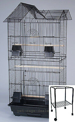 New Large Tall Cockatiel Parakeet Finch Canary Bird Cage With Black Stand - 368