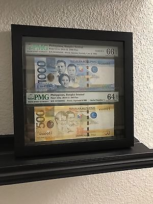 SERIAL #1 and SOLID 8's Philippines 500 & 1000 Piso PMG Uncirculated 64 & 66 UNC