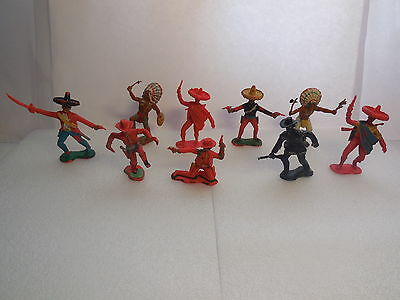Vintage 60mm Crescent Wild West Mexicans, Cowboys & Indians Toy Soldiers 1:32