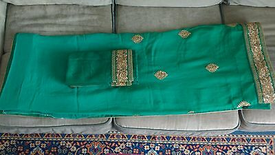 India Saree in Shaded Green, One Size, New Unworn