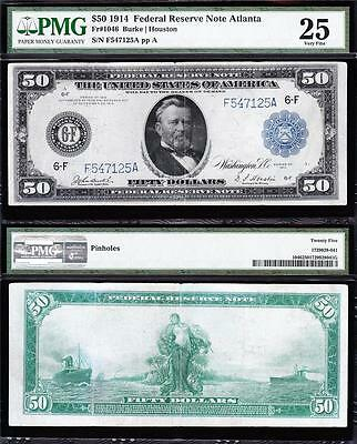 VERY NICE *SCARCE* Bold & Crisp VF+ 1914 $50 ATLANTA FRN Note! PMG 25! F547125A