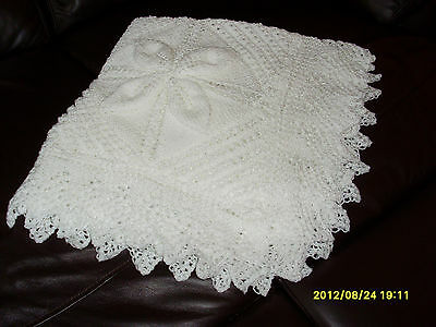 Hand knitted Baby Shawl in Baby soft WHITE D.K.