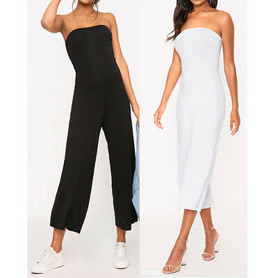 Womens Bandeau Strapless Crop Culotte Wide Jumpsuit Ladies Jumpsuit Size 8-16 UK