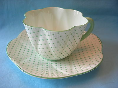 Shelley Dainty GREEN DOTS AND STARS Tea Cup and Saucer