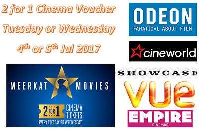 £0.85p 2 for 1 Cinema Tickets Voucher Code for Tue/Wed Odeon Cineworld Vue