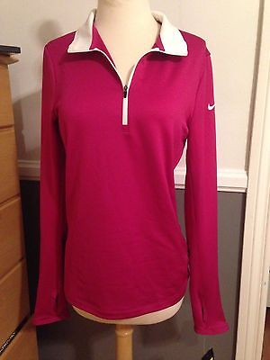 NEW Nike Ladies Golf Dri-Fit Stretch Pullover 1/2 Zip Fuchsia Pink 779796 Small
